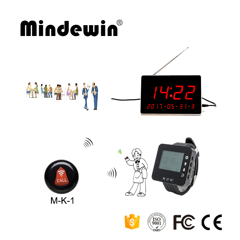 Mindewin Restaurant Table Call Bell System Wireless Waiter Calling System 10PCS Call Button + 1PCS Watch Pager + 1PCS Display table service bell system best discount price for restaurant 433 92mhz pager with ce passed 1 watch 12 call button