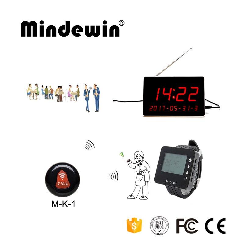 Mindewin Restaurant Table appel système de cloche sans fil serveur système d'appel 10 pièces bouton d'appel + 1 pièces montre téléavertisseur + 1 pièces affichage