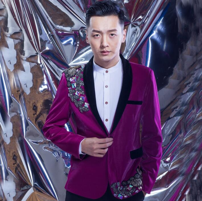 men suits designs diamond popular terno stage costumes for singers men sequin blazer dance clothes jacket star style dress punk
