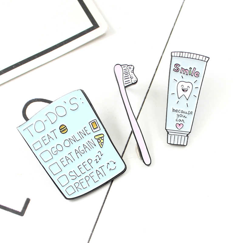 Lucu Kartun Lencana untuk Daftar Sikat Gigi Senyum Pasta Gigi Pin Perhiasan Enamel Pin Ransel Aksesoris Pakaian