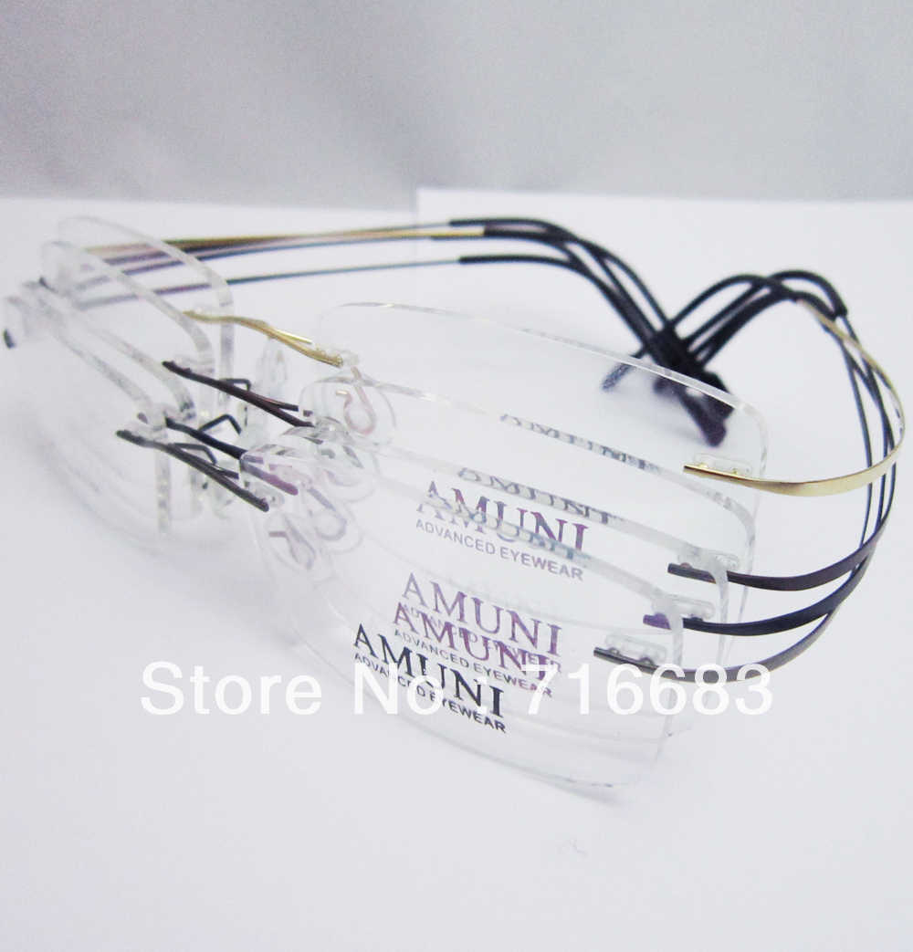 cf414e395c33 Pure Titanium Gold Black Grey Gunmetal Coffee Brown Rimless Flexible Optical  Eyeglass Frames Eyewear Spectacles RX