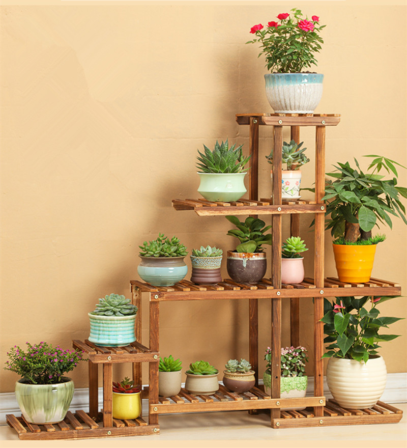 6 Tier Versatile Indoor Plant Shelf Decorative Wood Plant