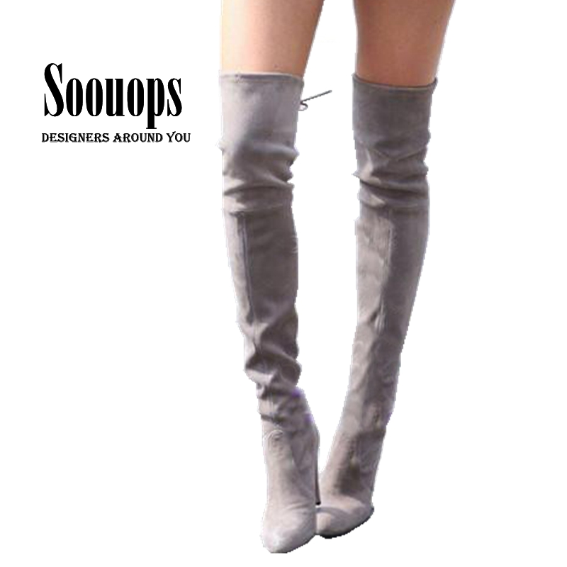 21d36823a16650 Women Stretch Faux Suede embroidery Thigh High Boots Sexy Fashion Over the Knee  Boots High Heels ...