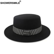 SHOWERSMILE Ladies Black British Style Fedora Hat Women Wool Boater Felt Hat And Cap Retro Spring Female Woolen Jazz Hat кроссовки overcome 806023