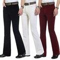 O Envio gratuito de Outono dos homens comerciais casuais calças Flares calças de veludo cotelê masculinos elástica calças boca de sino
