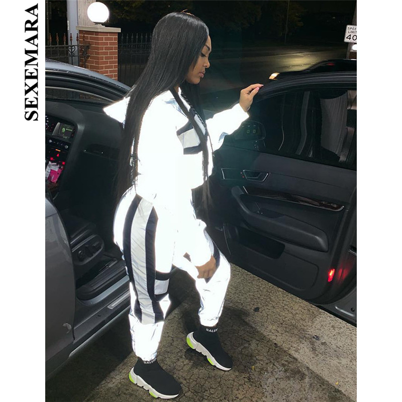 BOOFEENAA Color Block Reflective Tracksuit Womans Outfits Streetwear Cute Silver Two Piece Set Top And Pants Sweat Suits C87BE78