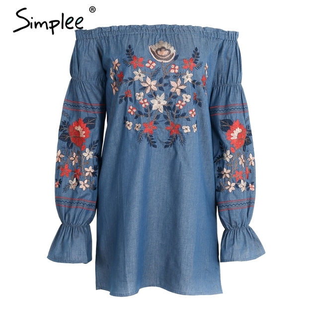 Simplee Vintage embroidery floral denim dress Women off shoulder long sleeve beach sexy summer dress 2017 Casual vestidos