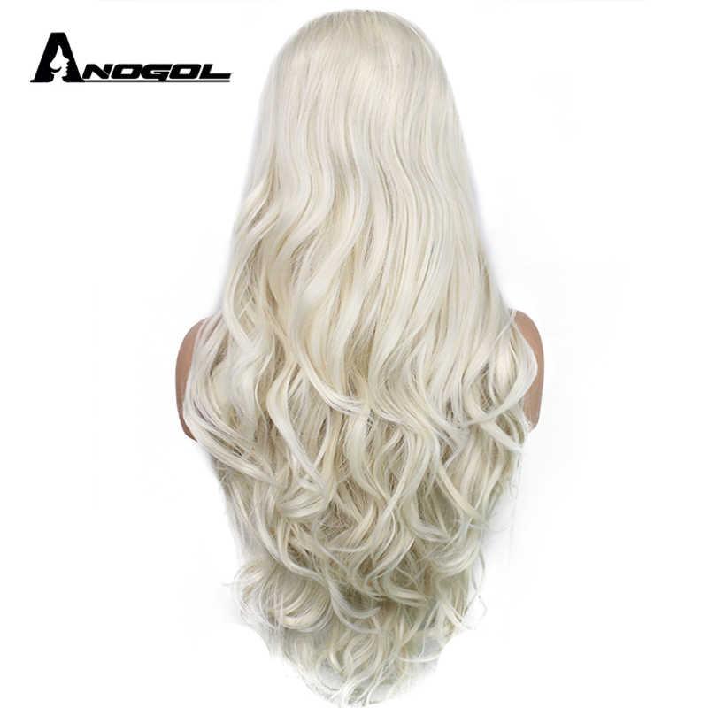 Anogol Midden Deel Natuurlijke Lange Lichaam Golf Platina Blonde Hoge Temperatuur Fiber Synthetische Lace Front Pruik Voor Witte Vrouwen
