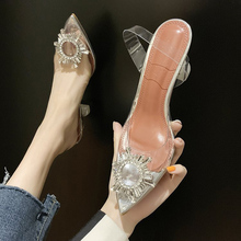 Women Pumps Sexy Sandals Crystal Slip-On Transparent Rhinestone Pointed Thin High Heel Shoes Wedding Elegant PVC Fashion Shoes creativesugar elegant satin med low heel slip on shoes rhinestone know pumps for wedding party prom blue champagne purple white