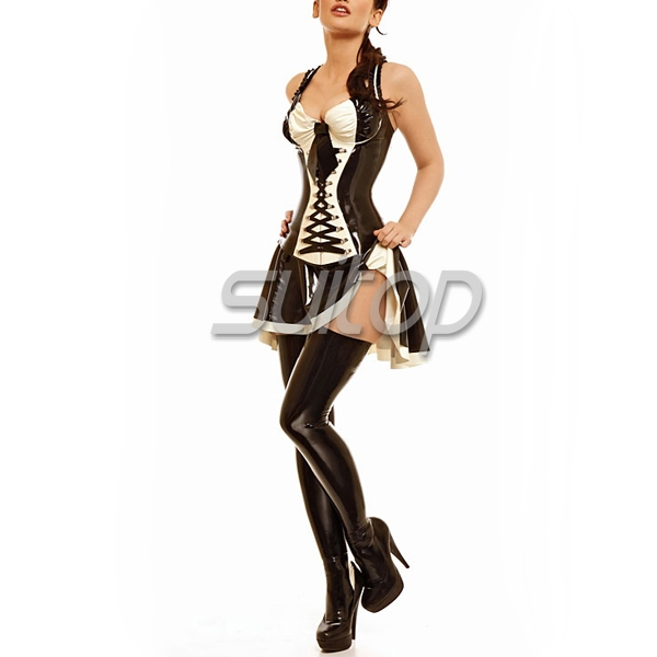 black color latex casual mini dress sm Maid cosplay teather and OL