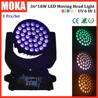 1 Stks/partij 36*18 W beam moving head licht RGBWY UV 6in1 zoom led wash moving head licht voor dj stage touch screen