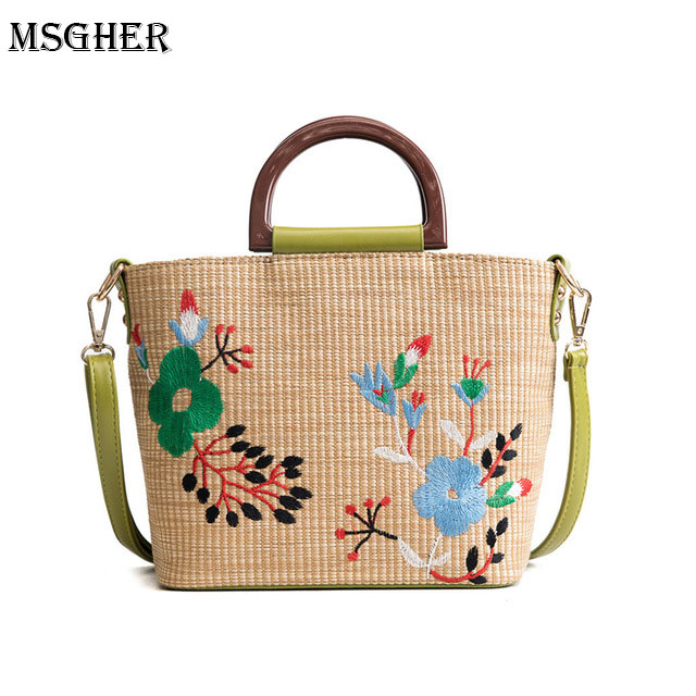 M.S Women Shoulder Bags Luxury Designer High Quality Straw Bag Casual Style Lock Women Crossbody Bags Lady Messenger bags WB565