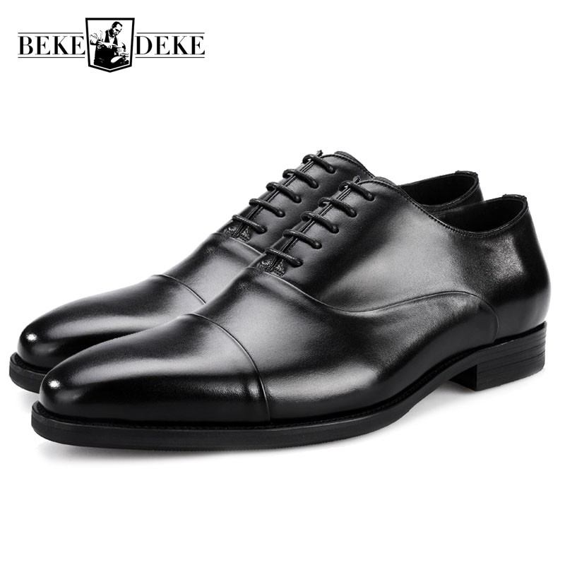 Top Quality Genuine Leather Mens Dress Shoes Black Brown Formal Business Male Shoes 2018 British Wedding Lace Up Oxford Footwear classic real cow leather formal shoes men plus size business flat pointe dress shoes male lace up top quality leather footwear