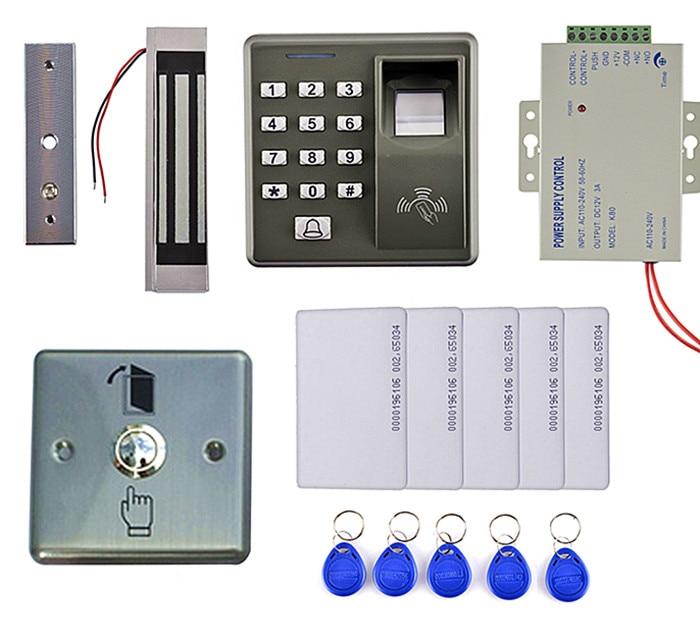 Magnetic Door Lock+500 Users Fingerprint RFID Card Door Access Control Kit +5 Key Card+5 RFID Card metal rfid em card reader ip68 waterproof metal standalone door lock access control system with keypad 2000 card users capacity