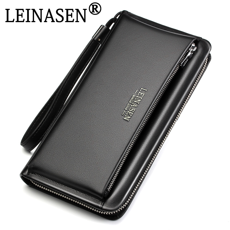 NEW Genuine Leather Brand business wallet Pockets Long Double Zipper Purse portfolio Money Clip Wallets Clutch Bag Men Purses banlosen brand men wallets double zipper vintage genuine leather clutch wallets male purses large capacity men s wallet