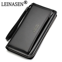 NEW Genuine Leather Brand Business Wallet Pockets Long Double Zipper Purse Portfolio Money Clip Wallets Clutch