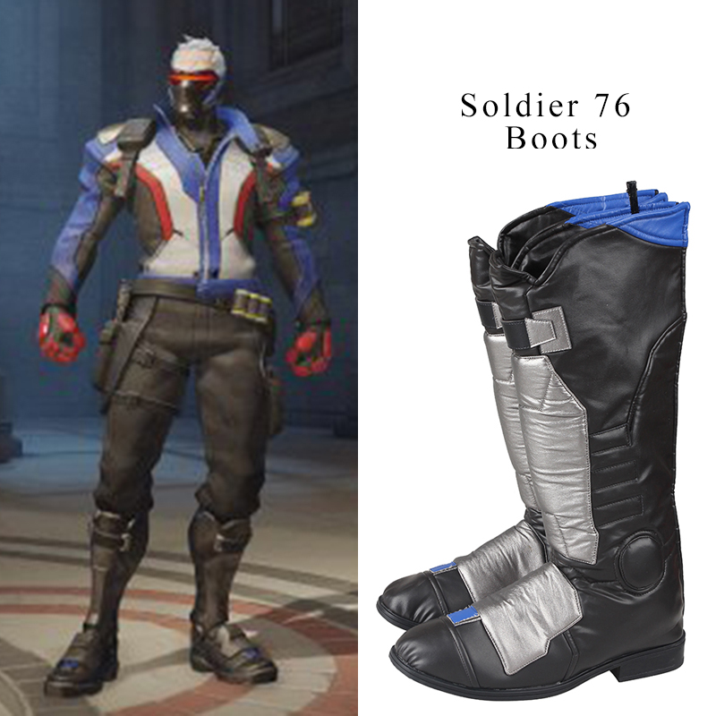 Soldier 76 Cosplay Boots Jack <font><b>Morrison</b></font> Cosplay <font><b>Shoes</b></font> Men High Boots Hot Game Halloween Christmas Party accessories For Male