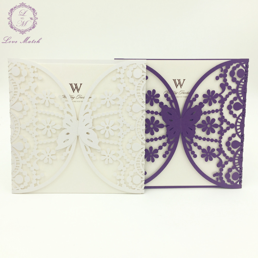 10sets laser cut wedding invitation card butterfly wedding ...