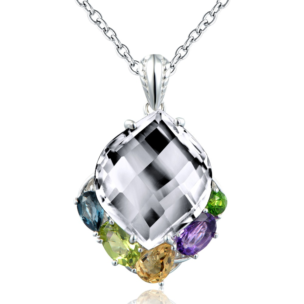Dormith real 925 sterling silver Natural rock crystal blue topaz amethyst peridot waterdrop pendant necklace for