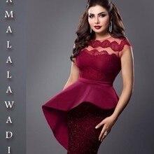 SexeMara abiye Glamorous Cap Sleeve Tea Length Dresses