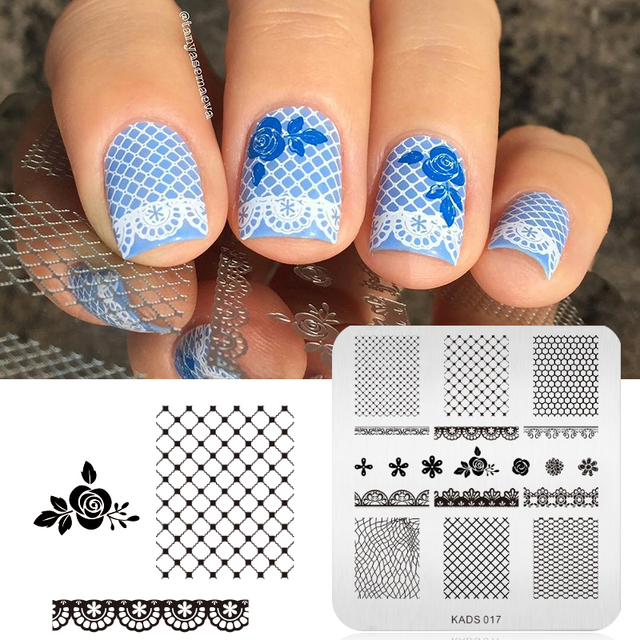 grids & Rose & Lace Design Nail Art Stamp Stamping Image Plate Nail ...