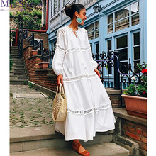 2019 New Fashion White V-neck Long Sleeve Hollow out Lace Plus Size Ladies Dresses Loose Big Woman Maxi Dress