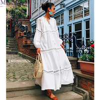 2019 New Fashion White V neck Long Sleeve Hollow out Lace Plus Size Ladies Dresses Loose Big Size Woman Maxi Long Dress
