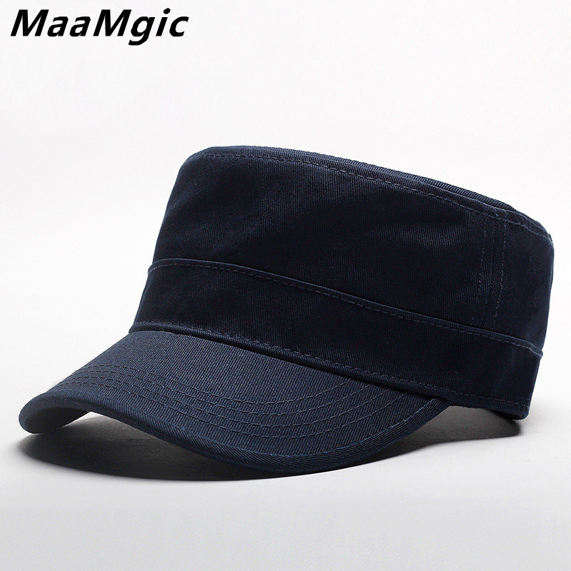 6cce60456d4 Brand 2018 Cotton Unisex Men Women Flat Top Cap Do Old Effect Military Hats  Classic Solid Color Visor Hat Summer Autumn Gift-in Military Hats from Men s  ...