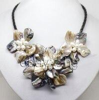 YH @ CS>>> wit kleur shell mop witte parel 3 bloemen hanger ketting handwerk Stone 18