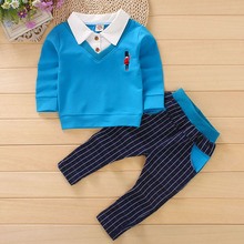 DIIMUU 2PC Kids Toddler Baby Boys Clothing Print Cartoon Outfits Children Boy Clothes Long Sleeve Shirt + Plaid Pants Sets
