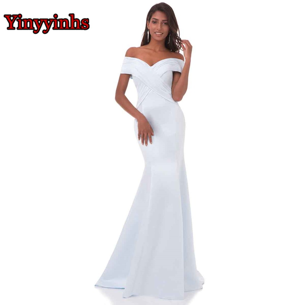 Yinyyinhs Real Picture Off Shoulder Formella Klänningar Sweep Train Vestido De Fiesta Mermaid Long Evening Dresses Prom Gowns CG81