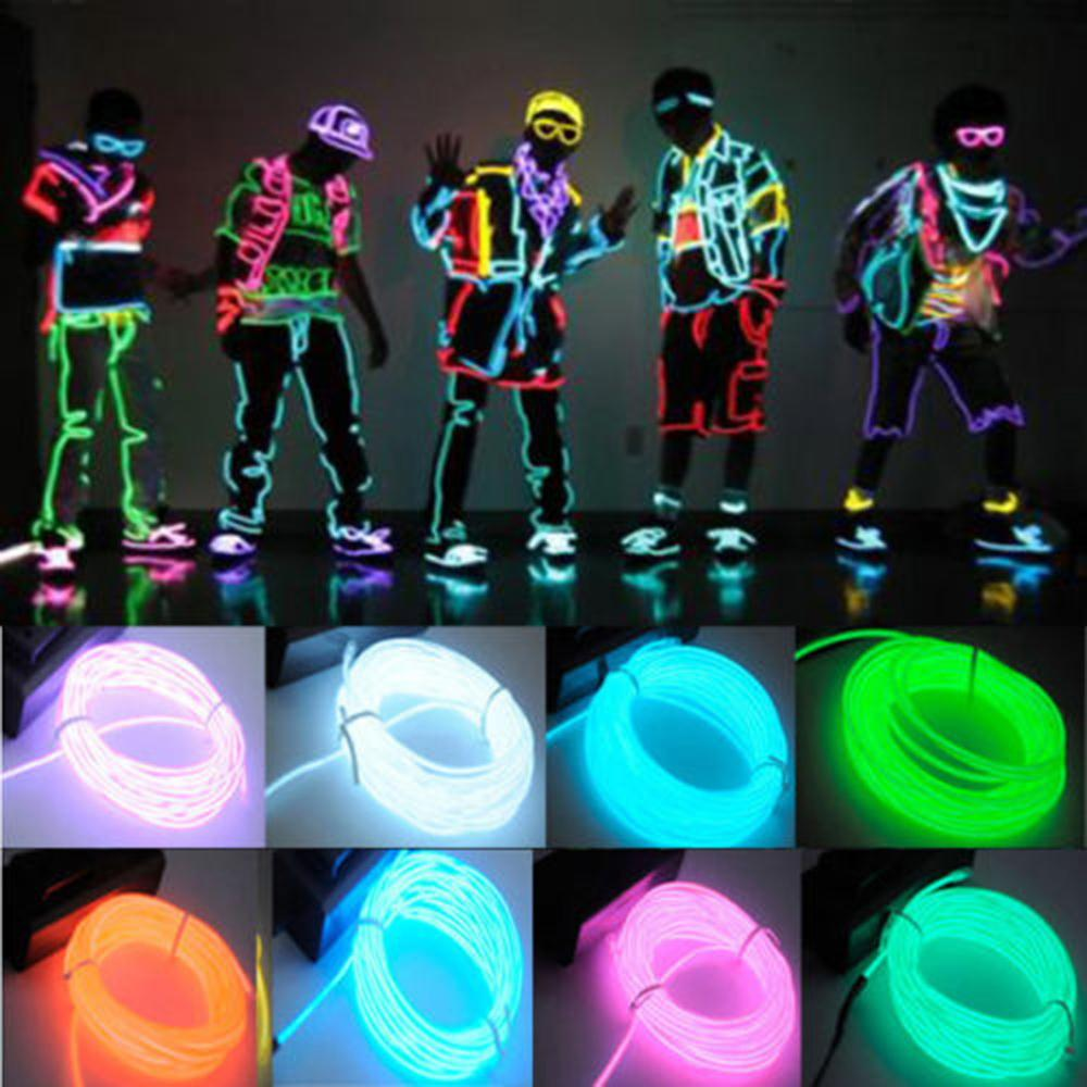 1pc 3M Flexible EL Wire Tube Rope Battery Powered Flexible Neon Light Car Party Wedding Decoration With Controller Hot Sale 2017