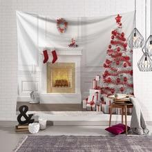 Merry Christmas Wall Tapestry 3d Santa Claus Deer Snowman Printing Kids Room Decor Xmas Wall Hanging Present Gift Farmhouse