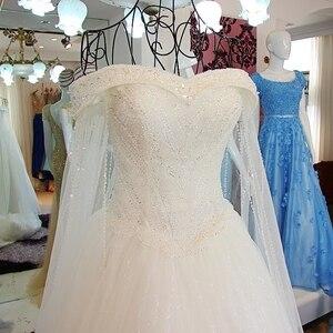 Image 3 - 2019 luksusowy kryształ dubaj Kaftan suknie ślubne Sexy V neck szata de mariage arabski muzułmańskie suknie ślubne z długim rękawem