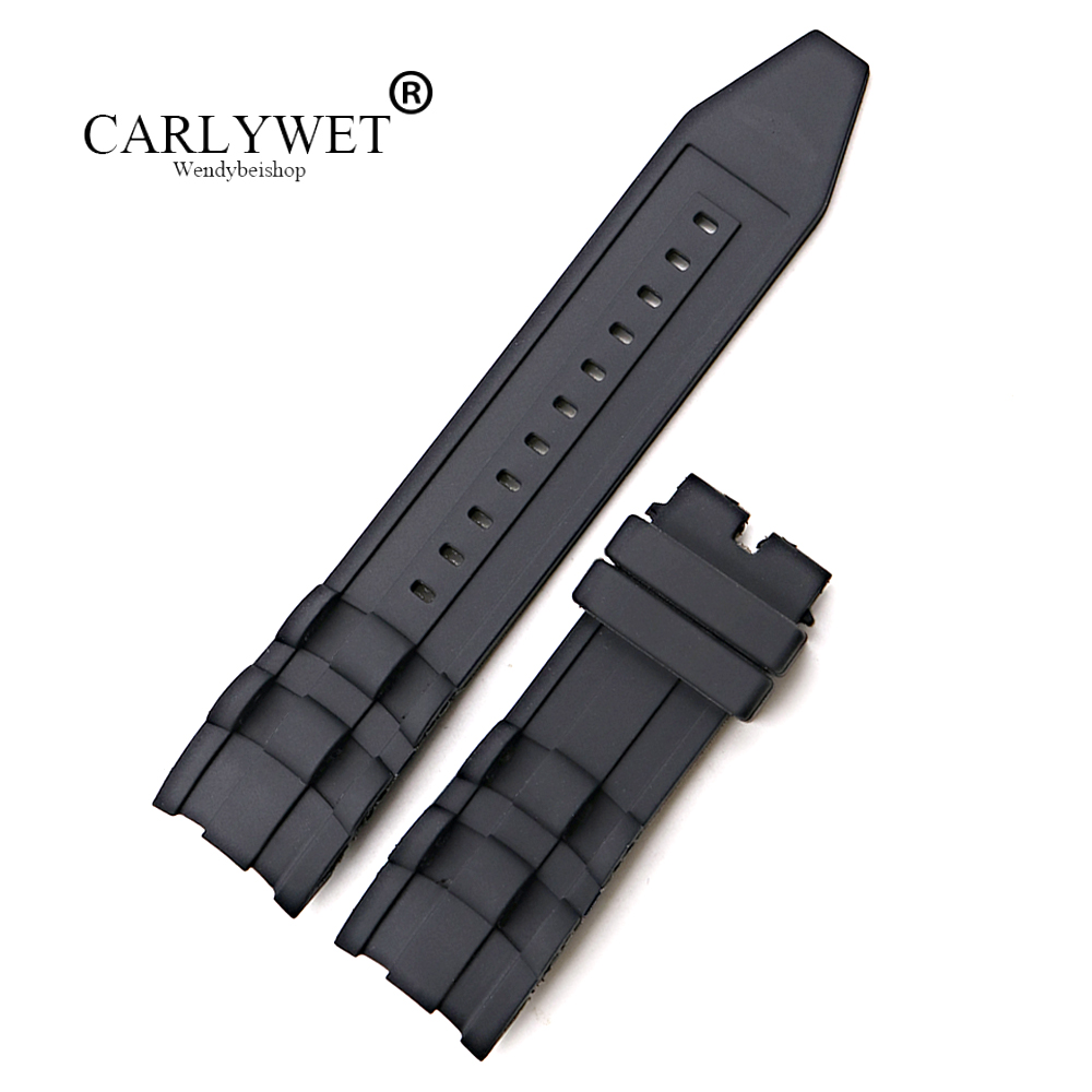 CARLYWET 26mm Wholesale Black Waterproof High Quality Silicone Rubber Replacement Watch Band Belt Strap For Invicta