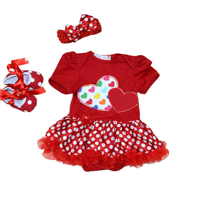 Baby Girls Romper Dresses Cute Love Heart Princess Baby Dress Valentines Girl Christening Gowns Party Baby Clothing Set