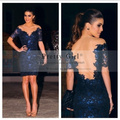 vestidos de fiesta 2016 royal blue lace appliques bodice see through short sleeve sheath short cocktail dresses Sexy party dress