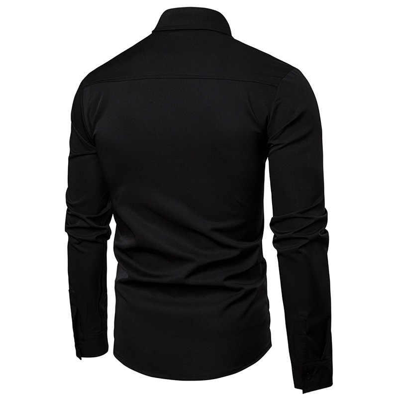 נצנצים רקמה שחור חולצה גברים 2019 חדש לגמרי Slim Fit ארוך שרוול שמלת חולצות Mens מסיבת חתונת חתן ארוחת ערב תחתונית Homme