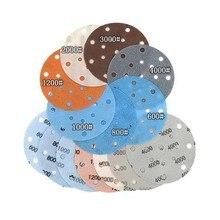 Disco de lijado automotriz de 17 agujeros, 6 pulgadas, 15 uds, papel de lija suave e impermeable, grano 600 a 5000