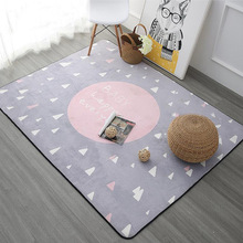 Nordic Geometry Rectangle Carpet Thicken Soft Kids Room Play Tents Mat Bedroom Area Rugs Large Pink Carpets for Living