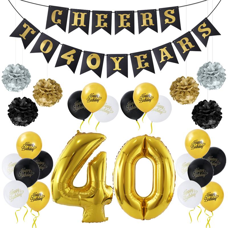DIY Birthday Decoration Balloons Banner Number 40 Gold Kit For 40th Party