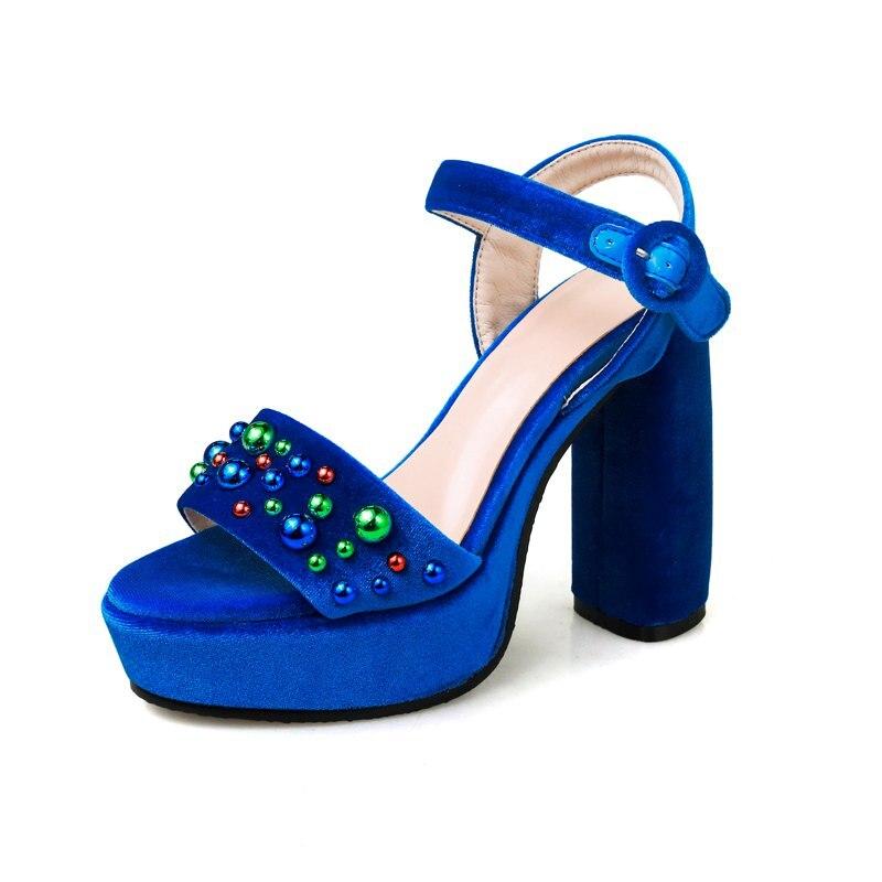 ФОТО New beading rainstone velvet crystal rivets super high heels brand shoes peep toe ankle straps solid platform women sandals 3-1