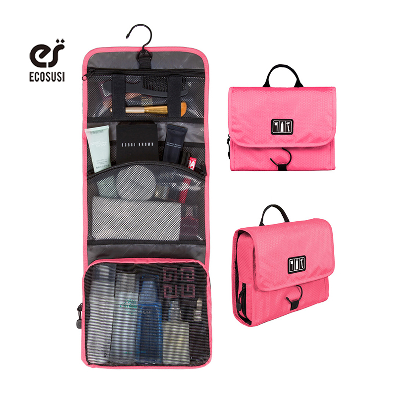 ecosusi hanging toiletry kit travel bag cosmetic bags carry case makeup packing organizer with breathable mesh
