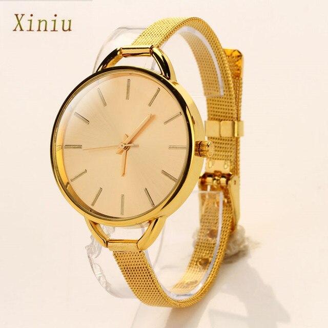 7abc9a93bba Vestido Meninas Relógio Luxyry Mulheres Assistem Senhoras Analógico Hour  Aço Inoxidável Pulseira Relógio de Pulso de