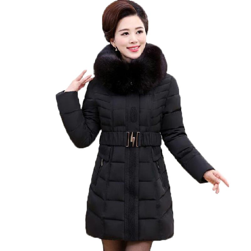 Winter Cotton Padded Coat Women Long Slim Parka 2016 New Mujer Fashion Fur Hooded Thick Jacket Coat Female Plus Size PW0949