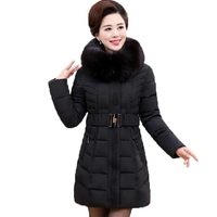 Winter Cotton Padded Coat Women Long Slim Parka 2016 New Mujer Fashion Fur Hooded Thick Jacket