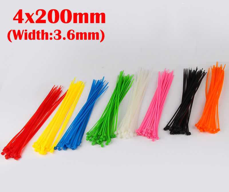 100pcs 4x200 4*200mm (3.6mm Width) Yellow White Purple Nylon66 Network Electric Wire String Zip Fastener Self-Locking Cable Tie