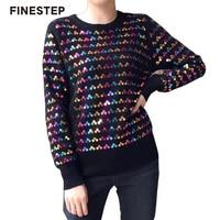 Для женщин кашемировый свитер Пуловеры Размеры блестками свитера Для женщин Красочные осенний свитер
