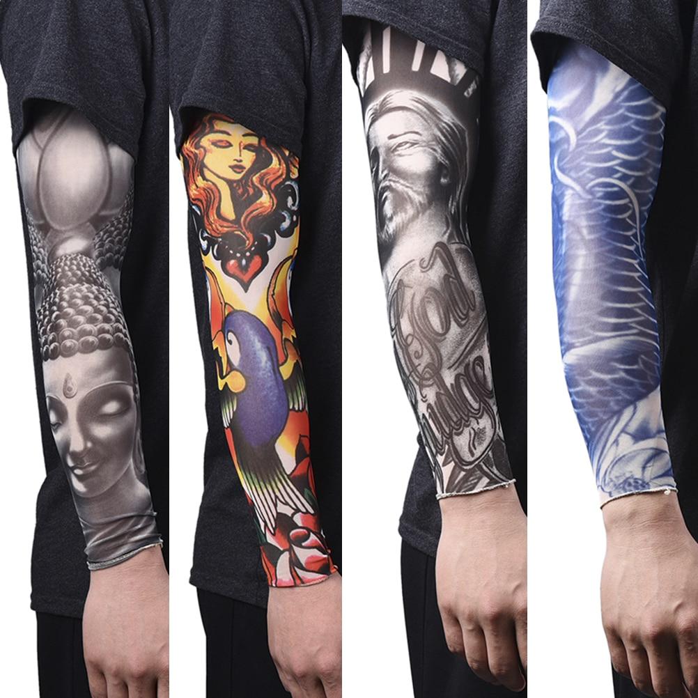 1PCS 46cm Driving Sunscreen Arm Tatoo Sleeve Man Woman Cool Cycling Temporary Flash Tattoo Stretchy Scorpion Fake Sleeves
