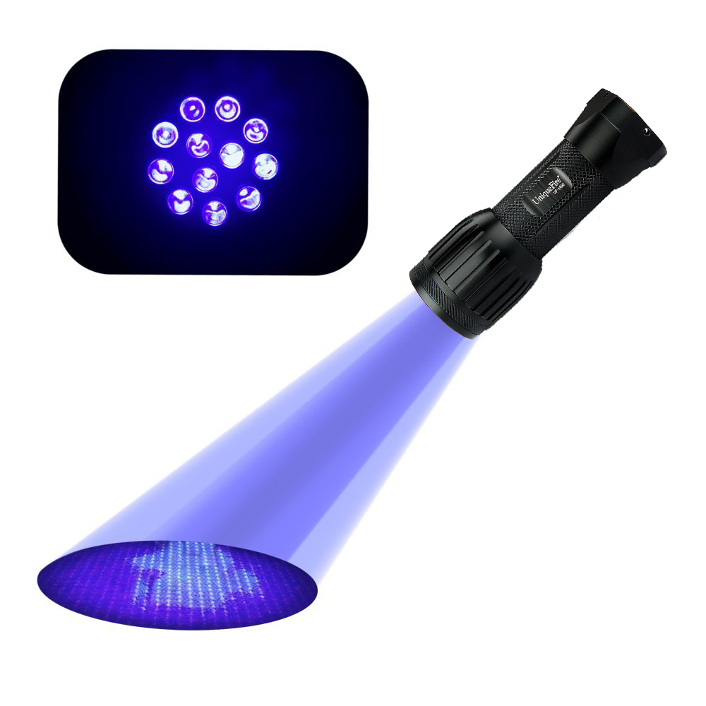 Uniquefire UV Flashlight 1408 Best LED Ultra Violet Flashlight To Find Stains On Carpet Rugs Or